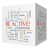 Be Active! 3D Cube Word Cloud Concept
