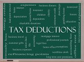 Tax Deductions Word Cloud Concept On A Blackboard