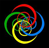 pic of psychedelic  - Psychedelic spiral of basic colors - JPG