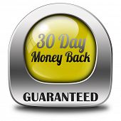 guaranteed 30 day money back button or icon 100% satisfaction customer service web shop warranty on