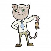 pic of dead mouse  - cartoon business cat with dead mouse - JPG