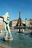 foto of trinity  - The Arion Fountain at Upper Square in Olomouc, in the background Holy Trinity (plague) Column With Chapel, Czech Republic
