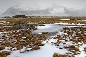 picture of crevasse  - View on an Icelandic landscape with frozen tundra - JPG