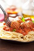 stock photo of meatballs  - spaghetti with meatballs in tomato sauce - JPG