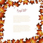 Modern autumn background frame with leafs.