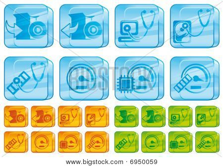 Computer glass icons