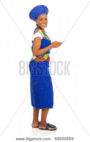 pretty african zulu woman using smart phone isolated on white