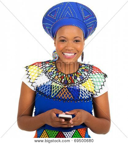 beautiful south african zulu woman using smart phone on white background