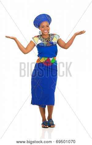 portrait of young african zulu woman isolated on white background