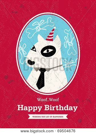 Dog Cartoon Birthday Card Design