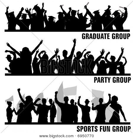 set of group peoples