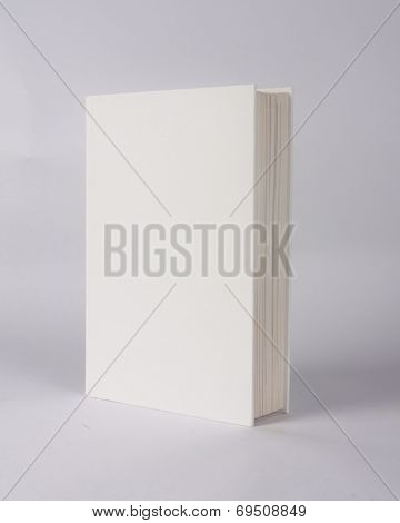 white book showing white front cover on a grey background