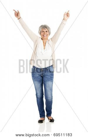 Happy Elderly woman with noth arms open, isolated over a white background