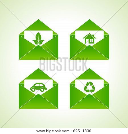 ecology symbols with envelope stock vector