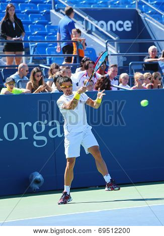 Professional tennis player Janko Tipsarevic practices for US Open 2013