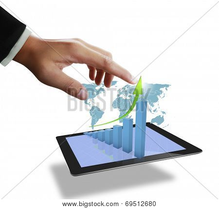 Close up of a man using tablet computer,show business graph