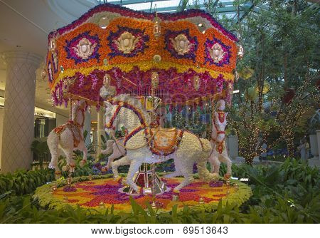 Floral animated carousel in the atrium of Wynn Hotel and Casino in Las Vegas