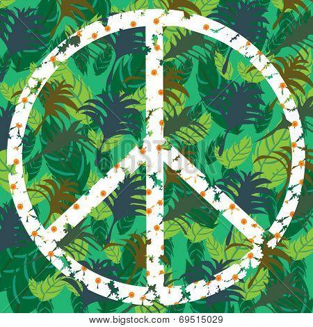 Peace symbol in shades of green, vector illustration