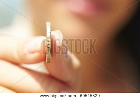 woman handing coins