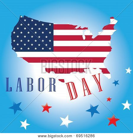 Labor Day of American Flag Map