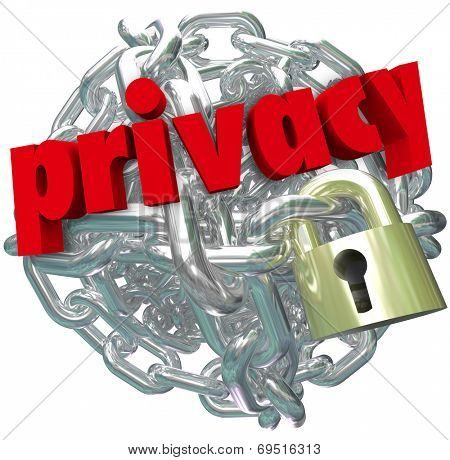 Privacy word in red 3d letters on a ball or sphere of metal chain links and a lock as secured information or sensitive personal data or details not shared