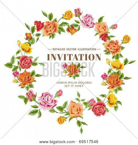 Vintage Roses Frame Card - in vector