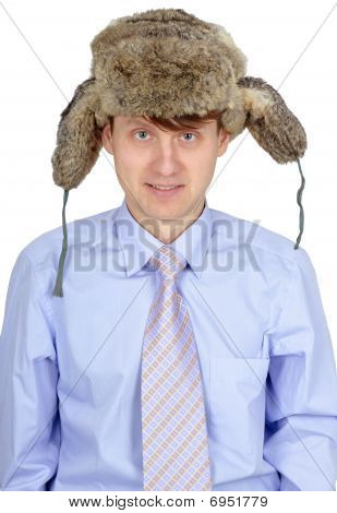 Funny Guy In Russian Earflaps And Tie