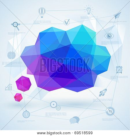 Colorful geometric bubble for speech. Vector illustration.