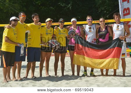 MOSCOW, RUSSIA - JULY 19, 2014: Teams Brazil and Germany before the semi-final match during ITF Beach Tennis World Team Championship. Brazil won 2-1