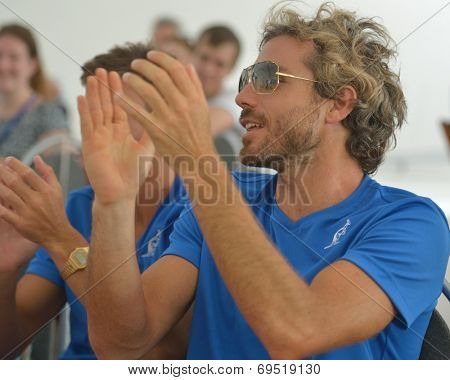 MOSCOW, RUSSIA - JULY 17, 2014: Alessandro Calbucci of Italy on the party in honor to opening of Beach Tennis World Team Championship. Calbucci is No 2 in the world ratings