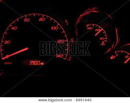 Car dashboard gages in the dark