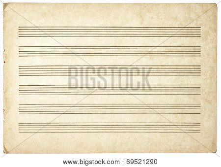 Grungy Blank Paper Sheet For Musical Notes
