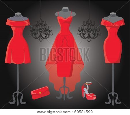 Tree red cocktail party dresses