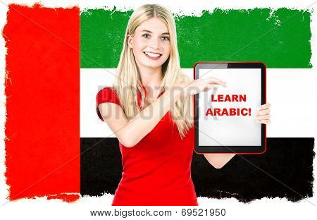 Arabic Language Learning Concept. Tablet Pc