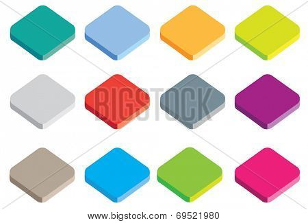 different coloured buttons or icons in isometric projection isolated on a white background