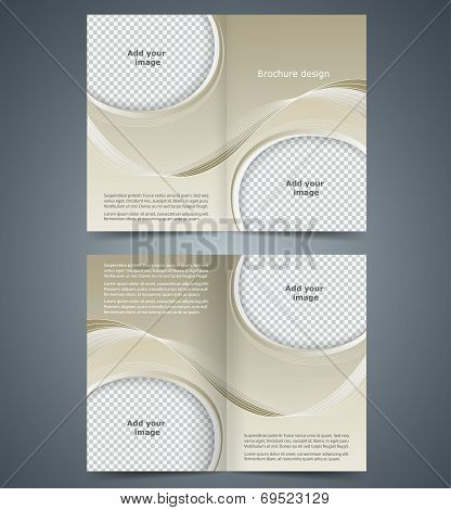 Brown Booklet, Template Design  With Waves, Layout Business Brochure Or Catalog, Flyer Template