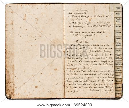 Antique Recipe Book With Handwritten Text