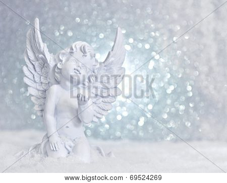 Little White Guardian Angel In Snow