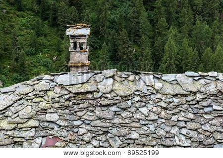 Stone Roof With Chimney, Cuneaz (italy)