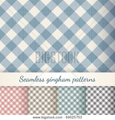 Set of seamless checkered gingham patterns
