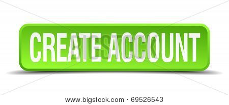 Create Account Green 3D Realistic Square Isolated Button