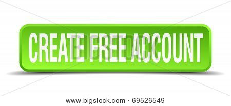 Create Free Account Green 3D Realistic Square Isolated Button