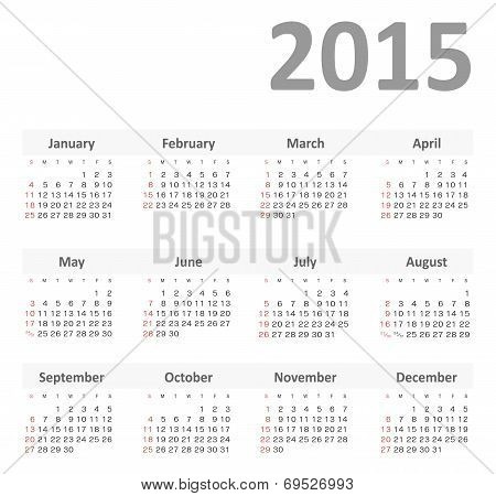 Simple calendar for 2015 year vector