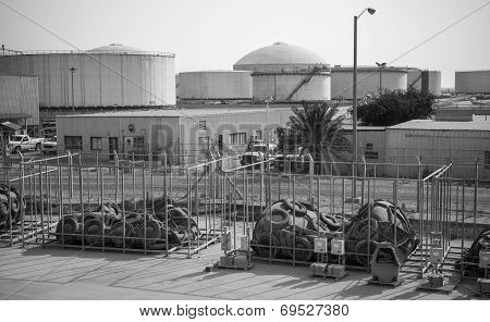 Tanks And Port Equipment. Ras Tanura Oil Terminal, Saudi Arabia