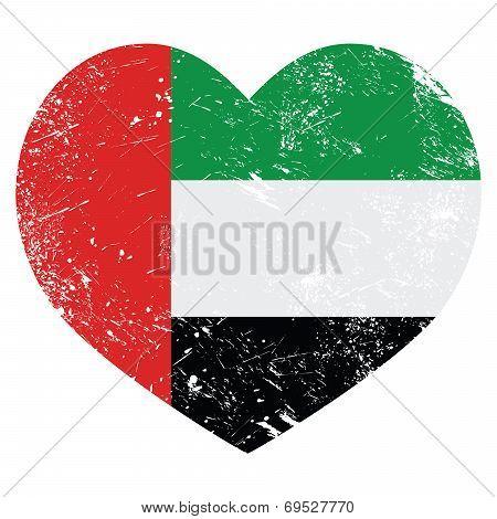 The United Arab Emirates retro heart shaped flag