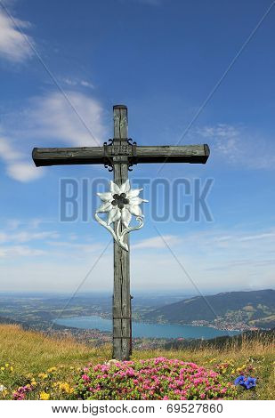 Mountain Cross And Alpine Landscape, Germany