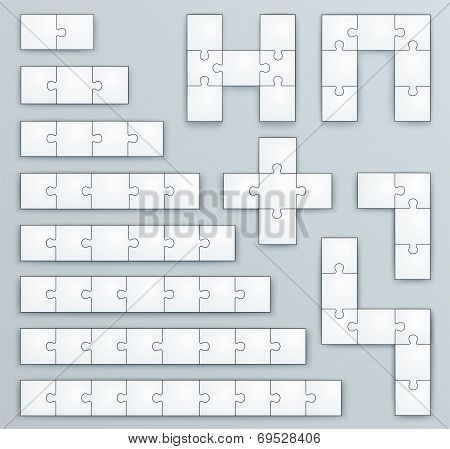Piece Jigsaw Puzzle Template, Set Of Of 2, 3, 4, 5, 6, 7, 8, 9 Pieces, And Geometric Puzzles