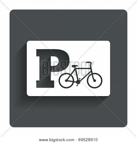 Parking sign icon. Bicycle parking symbol.