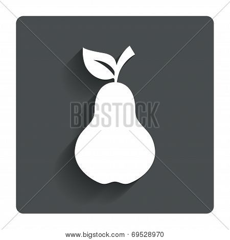 Pear with leaf sign icon. Fruit symbol.