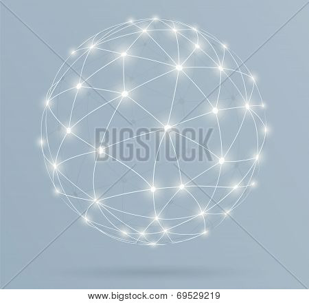 Network, Global Digital Connections With Glowing Lines